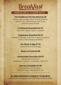 McCafferty's Breakfast Menu